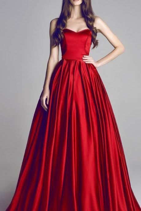 Gorgeous Satin Sweetheart A-Line Prom Dresses With Pleats,Prom Dress,Satin Prom Dress,A-Line Evening Dress