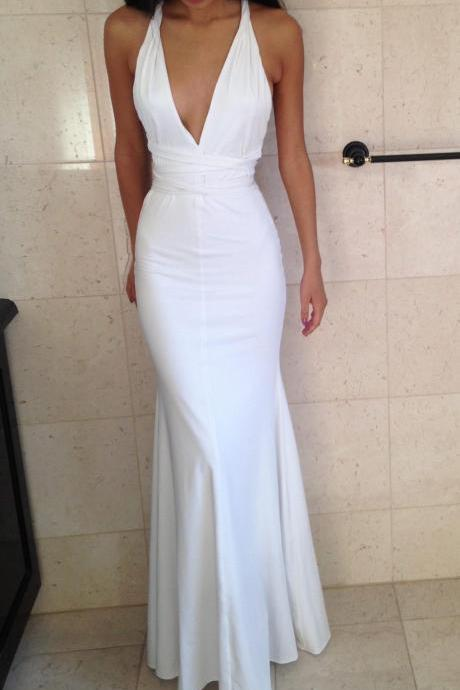 Prom Dress,Sexy Evening Gowns, White Deep V Neck Mermaid Prom Dresses, Formal Gown