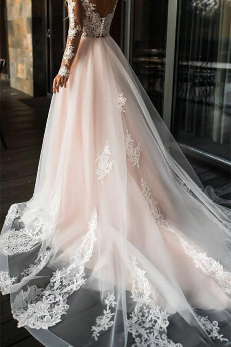 Elegant Lace Off Shoulder Wedding Dress,Long Sleeves Appliques Bridal Dress,High Quality Custom Made Bridal Dresses