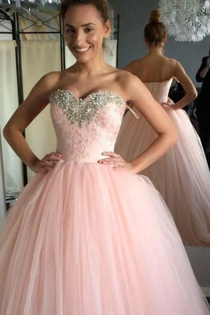 Long Prom Dress, Sexy Pink Ball Gown Prom Dresses, Sweet 16 Dress, Tulle Quinceanera Dress
