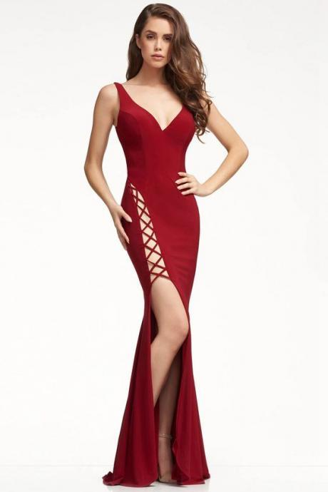 Sexy Sheath/Column Cut Out Jersey Lace-up Split Prom Dresses,Custom Made,Party Gown,Cheap Evening dress