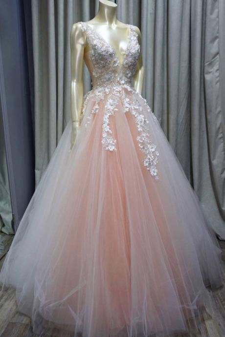 Lace A Line Wedding Dresses, Tulle Applique Wedding Dress,Floor Length Wedding Bridal Gowns,Wedding Dresses