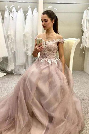 Hot Sell Sheer Neck Off the Shoulder Tulle Long Prom Dresses with Appliques for Women,Evening Dress
