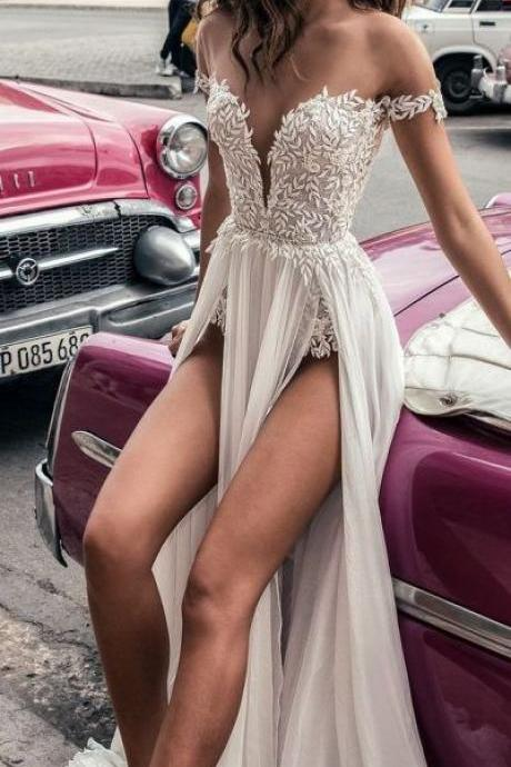 white off shoulder v-neck long wedding dress,bridal dresses, Long Prom Dress, Graduation Dress