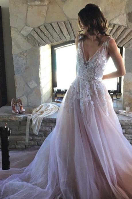 unique v neck lace applique wedding dress,tulle long prom dress, wedding dress, Long Prom Dress, Graduation Dress