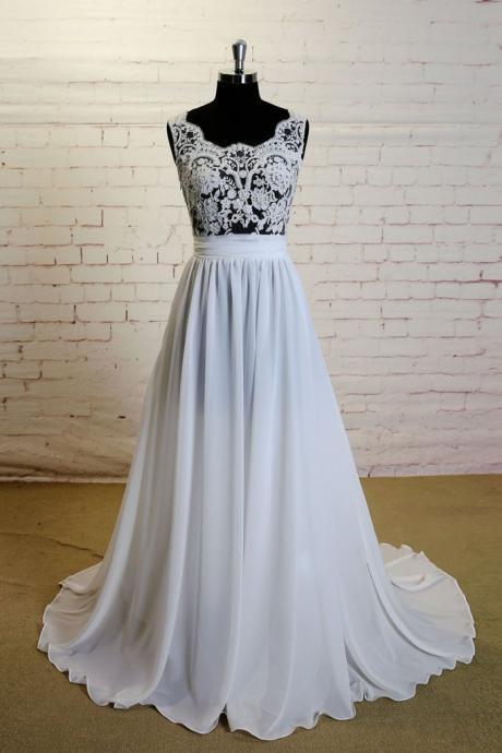 white a-line lace wedding dress,chiffon long prom dress, lace wedding dress, Long Prom Dress, Graduation Dress