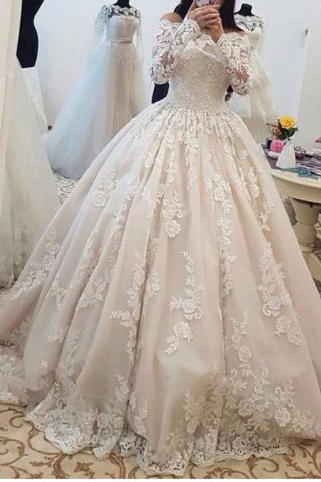 Romantic Lace Wedding Dress,Long Sleeves Ball Gown ,Wedding Gowns ,Bridal Bride Dresses ,Off the Shoulder Wedding Dresses vestido de noiva