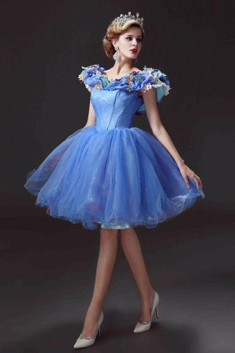 New Arrival Short Homecoming Dress, Movie Deluxe Adult Cinderella Party Gowns ,Applique Blue Homecoming Dresses,Cinderella vestido de festa Homecoming Dress