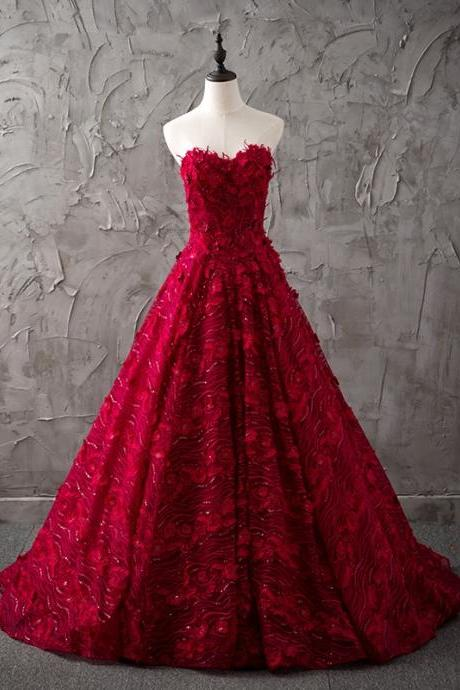 Cheap wedding dresses,burgundy wedding dress,lace wedding dress,sweetheart dress,princess bride dress,elegant wedding gowns