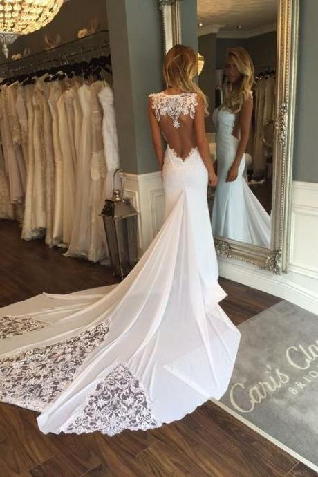 Wedding Dresses,Wedding Gown,Princess Wedding Dresses ,Mermaid Wedding Dress ,with Backless mermaid brides dress