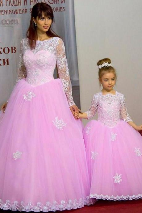 Custom Wedding Dress,Romantic wedding dress,Mermaid Wedding Dress,Lace wedding dress,Lace wedding dress,long sleeve wedding dress,high quality wedding dress,puffy wedding dress,charming wedding dress,Pink Pageant Dresses Appliques Ball Gown