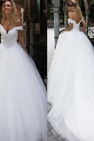 Saudi Arabic Wedding Dress, Bridal Gown ,Off Shoulders Appliqued Wedding Gowns