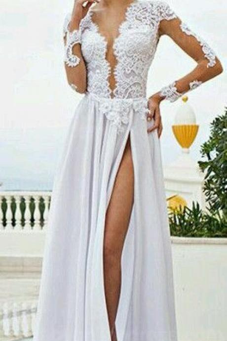 Sexy Backless Wedding Dress, sexy Long sleeve Wedding Dress,deep v-neck chiffon wedding dress,prom dress,evening dress