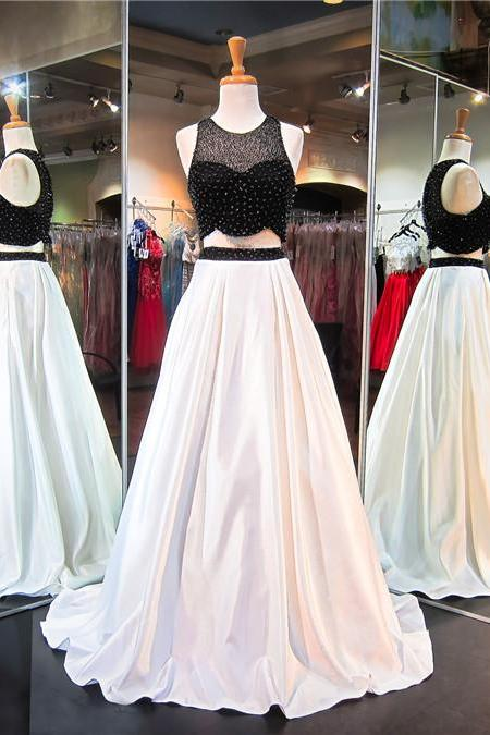 Two Pieces A line Evening Prom Dress Sexy Black and White Party Prom Dress, Custom Long Prom Dress, Cheap Party Prom Dress