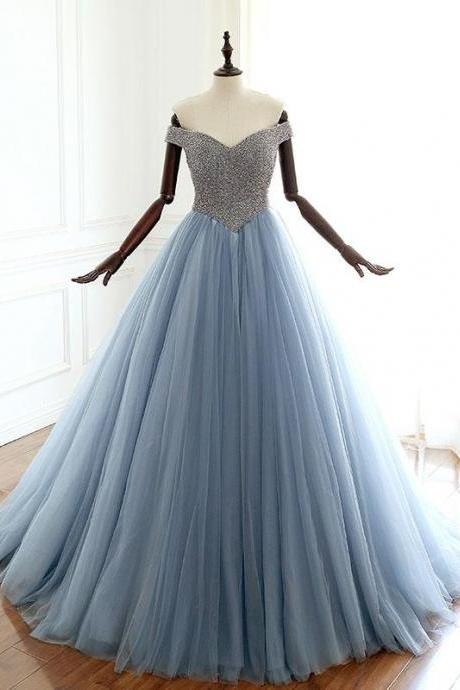 Stunning Dusty Blue Luxurious Beaded Prom Dress,Long Tulle Evening Dress ,Long Prom Dress,Elegant Evening Dress,Tulle Evening Gown,Prom Formal Dress