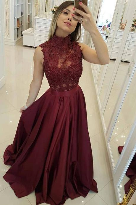 Burgundy High Neck Long Prom Dress,Lace Bodice Princess Floor Length Long Formal Ball Gowns,Elegant Evening Dress,Tulle Evening Gown,Prom Formal Dress