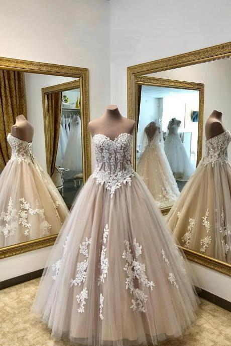 Sweetheart Champange Lace Wedding Dress,Tulle Ball Gowns,Floor Length Wedding Dresses,Elegant Wedding Dress,Tulle Evening Gown,Prom Formal Dress