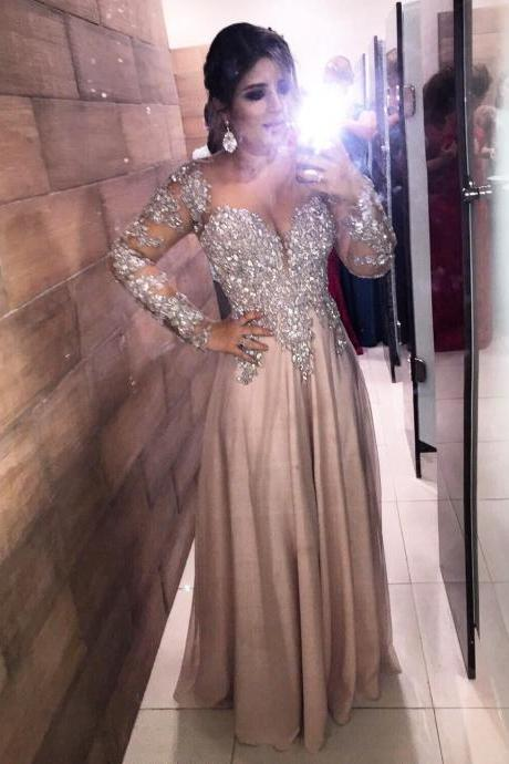 Shinning Long Sleeves Prom Dress,Sexy Evening Party Dress,Luxury Evening Dress,Party Dress