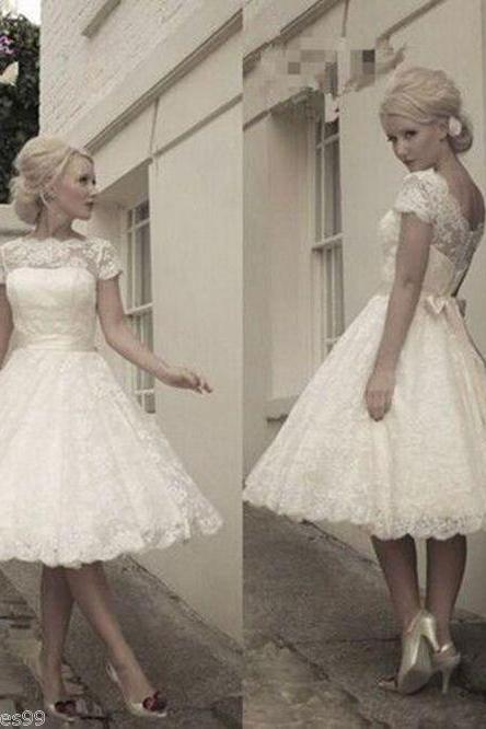 Short Wedding Dresses,White/Ivory Lace Bridal Dresses,Tea Length Short Vintage Wedding Dress