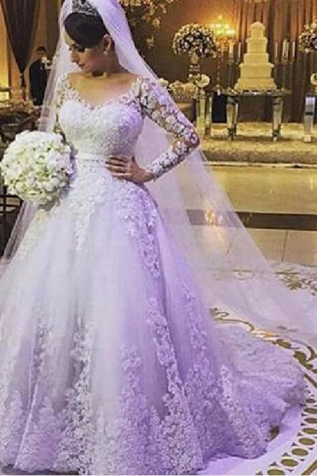 A-line luxury decals cathedral Wedding Dress Plus Size,Princess Wedding Dresses ,Bridal Gown
