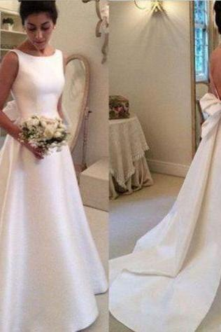 Simple Backless A Line Satin Wedding Dress Custom Size ,Princess Wedding Dresses ,Bridal Gown