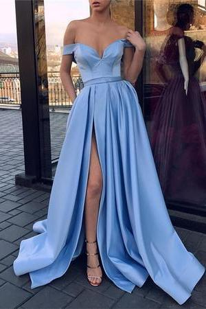 Sexy V-neck Off The Shoulder Prom Dress,Long Satin Leg Split Evening Gowns,Sexy Formal Evening Dress,Custom Made