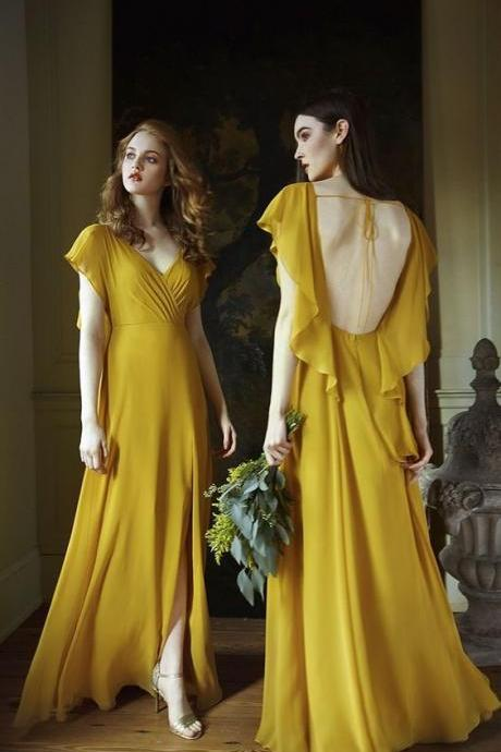 yellow long prom dress chiffon ,Backless Eveninf Dresses