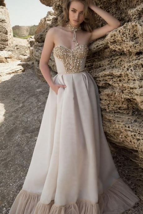 A Line Princess Prom Dresses With Beading,Formal Women Dress ,Party Gown,Evening Dress,Cheap Prom Dress