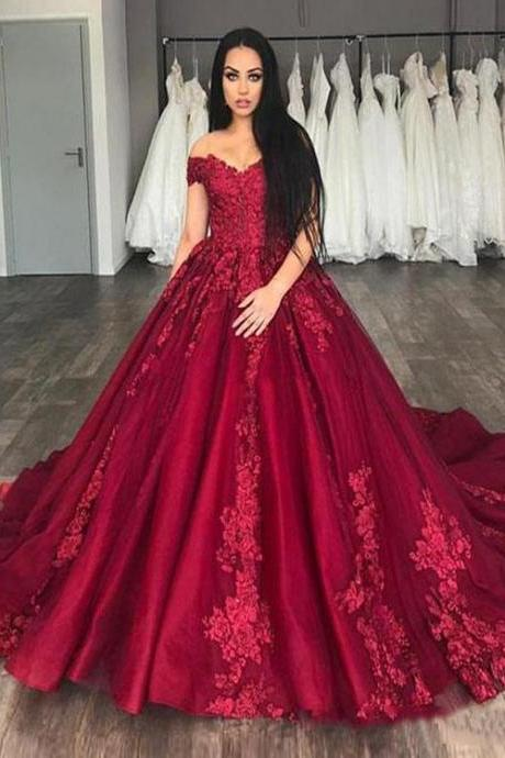 Princess Red Wedding Dress,Off The Shoulder Tulle Bridal Gowns, Wedding Dresses,Pageant Wedding Gowns with Lace Appliques