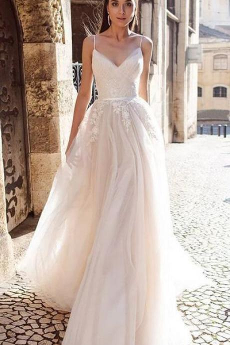 spaghetti Wedding Dress,Simple White Satin Bridal Dress with Appliques