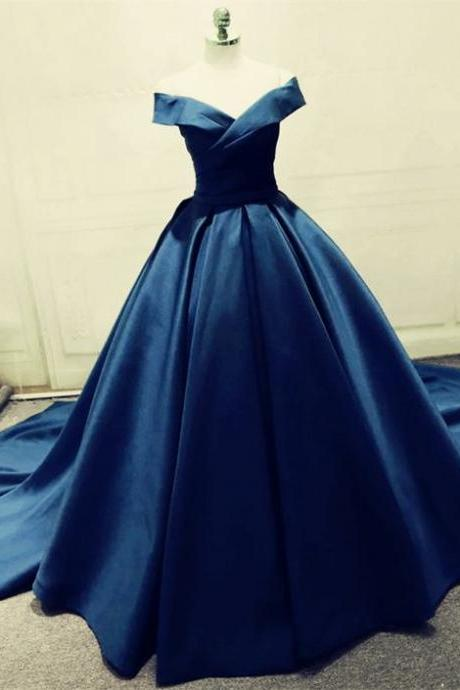 navy blue ball gown prom dresses ,satin off the shoulder evening gowns,Long Prom Dresses,Cheap Prom Dresses,Evening Dress,Prom Gowns
