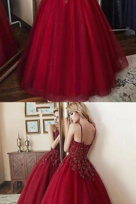 Burgundy v neck tulle long prom dress, burgundy evening dress,Long Prom Dresses,Cheap Prom Dresses,Evening Dress,Prom Gowns