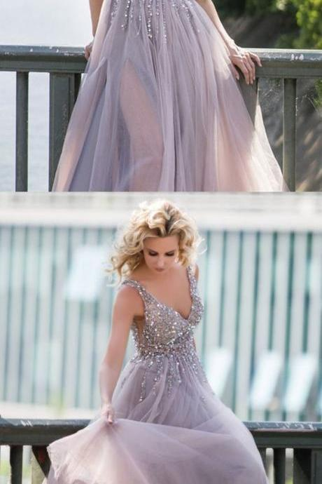 Gray Tulle Prom Dresses ,Long Sequin Beaded V-neck Formal Gowns,Cheap Prom Dresses,Evening Dress,Prom Gowns