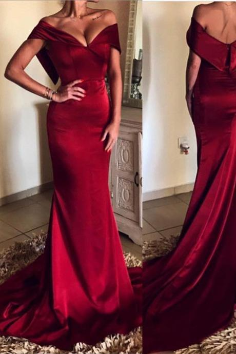 Elegant V-neck Off The Shoulder Evening Dress,Long Satin Burgundy Evening Dresses ,Mermaid Prom Gowns,Long Prom Dresses,Cheap Prom Dresses,Evening Dress,Prom Gowns