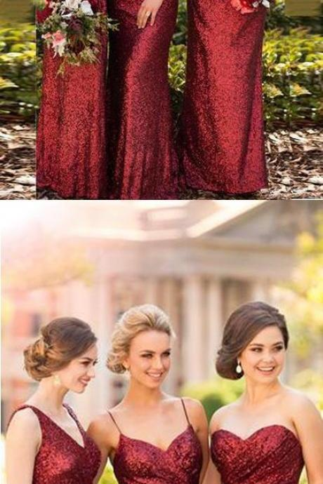 Sparkly Sheath Sleeveless Bridesmaid Dresses,Red Floor-Length Bridesmaid Dress with Sequins,Cheap Prom Dresses,Evening Dress,Prom Gowns