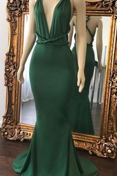 Sexy Green Prom Dresses, Halter V-Neck Crisscross Back Mermaid Evening Gowns,Long Prom Dresses,Cheap Prom Dresses,Evening Dress,Prom Gowns