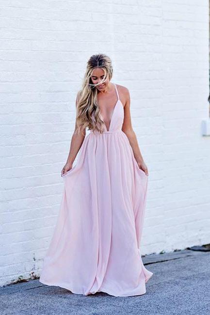 Simple Pink Prom Dress,V-Neck Backless Long Prom Dress,Chiffon Evening Dresses, Halter V-Neck Crisscross Back Mermaid Evening Gowns,Long Prom Dresses,Cheap Prom Dresses,Evening Dress,Prom Gowns