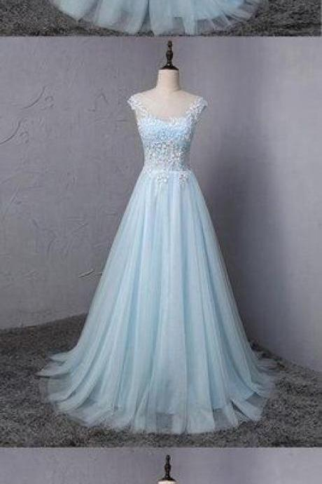 Light blue tulle scoop neck A-line Prom Dresses,long sweet 16 prom dress, lace formal dress,Cheap Prom Dresses,Evening Dress,Prom Gowns