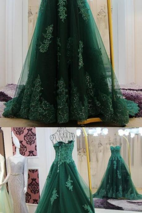 Green Floor length Prom Dresses, Floor-length Long Prom Dresses, Sweetheart Lace Beading Long Green A-line Modest Prom Dresses,Evening Dress,Prom Gowns