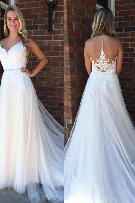 Charming White Wedding Dresses,See Though Back Tulle A Line Wedding Dress, Elegant Bride Dress, appliques Wedding dress