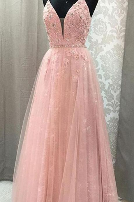 V Neck prom dress Spaghetti Straps party dress Open pink Lace Long Prom Dresses