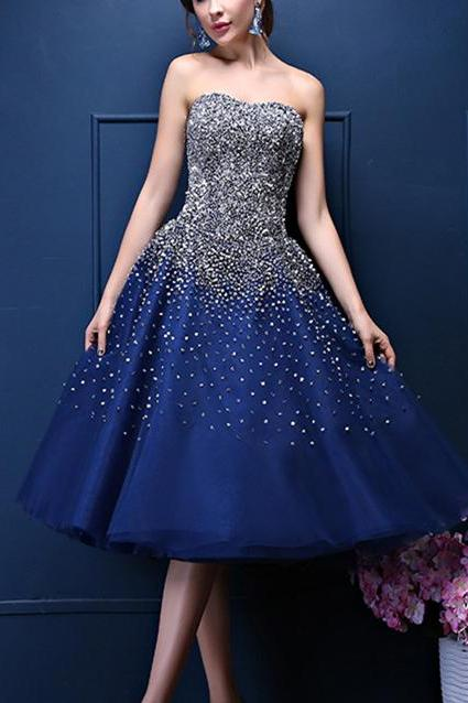 Custom Made Navy Blue Prom Dress,Tea- Length A-Line Homecoming Dress with Rhinestone Beading,Cheap Prom Dresses,Evening Dress,Prom Gowns