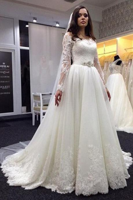 Lace Wedding Dress, Plus Size Wedding Dresses, Long Sleeve Wedding Dresses, Scoop Wedding Dress, Bridal Gown with White, Hot Sale Wedding Dress, High Quality Wedding Dresses