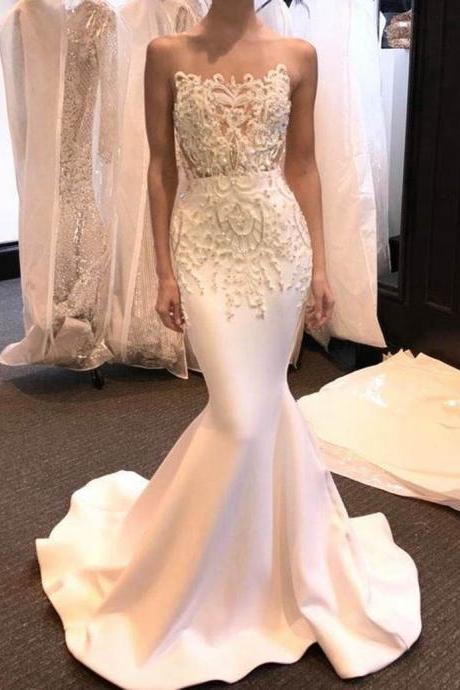 Mermaid White Illusion Jewel Wedding Dress,Sweep Train Beading Prom Dress with Lace,Fashion Bridal Dresses