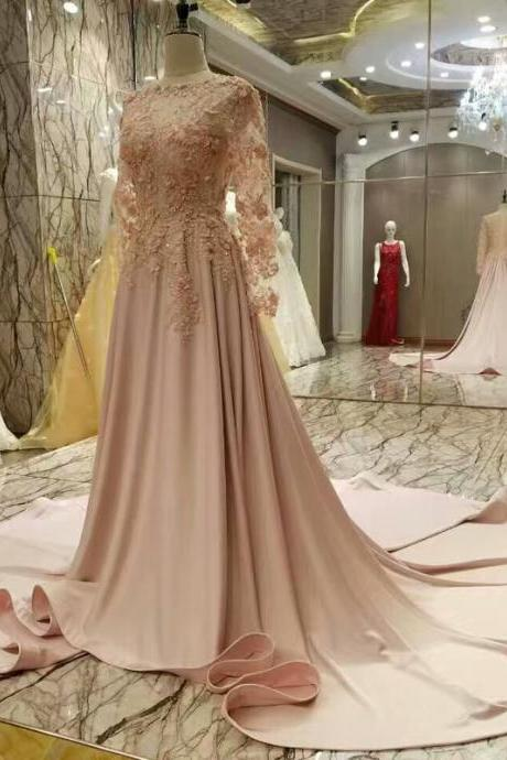Real Picture O-neck Chapel Train Evening Dresses, A Line Long Sleeve Prom Dress,Appliques Lace Flowers Prom Evening Gowns