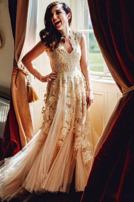 Lace A-line Wedding Dress, Beach Wedding Dress, Country Wedding Dresses