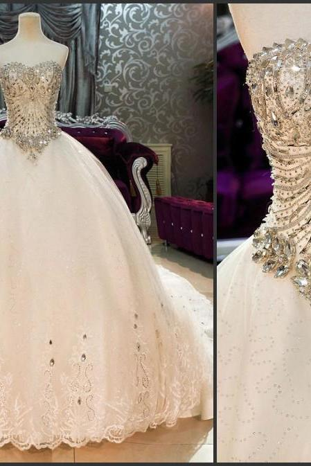 Beaded Tulle Wedding Dress,Sweeteart Wedding Dresses,Fashion Bridal Dress