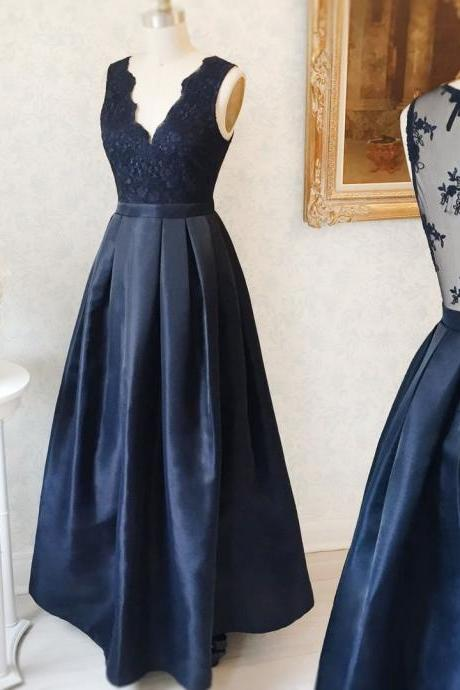 navy prom dress,cap sleeves prom dress,long evening gowns,satin evening dresses