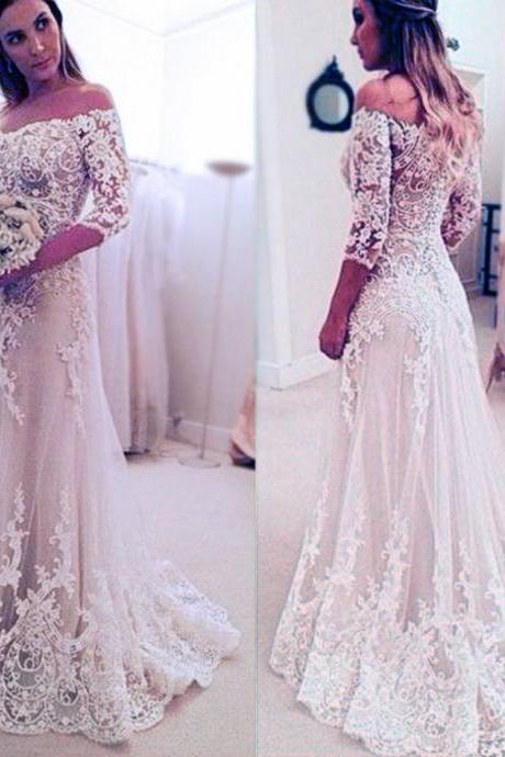 Stunning Off Shoulder Wedding Dress,Half Sleeve Bridal Dress,Long A-line Wedding Party Dresses,Wedding Dresses