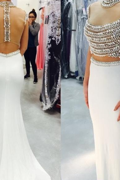 2 Piece Prom Gown,Two Piece Prom Dresses,White Evening Gowns,2 Pieces Party Dresses,Chiffon Evening Gowns,Formal Dress,Sparkly Evening Gowns For Teens